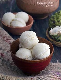 Really, this Custard Apple Ice-Cream is a must-try when the fruit is in season. With the intoxicating sweetness and rich aroma of custard apple, this ice-cream is really wow! A combination of milk, cr (Low Carb Apple Recipes) Ice Cream Desserts, Apple Desserts, Frozen Desserts, Ice Cream Recipes, Apple Recipes, Frozen Treats, Easy Recipes, Delicious Desserts, Apple Custard