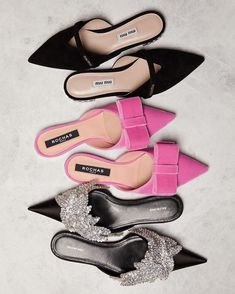 The most fabulous flats from Miu Miu, Rochas and Balenciaga at Matches Fashion. Pretty Shoes, Beautiful Shoes, Fancy Shoes, Pink Shoes, Black Shoes, Shoe Boots, Shoes Heels, Miu Miu Shoes, Mode Shoes