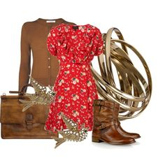 """""""Red Spring Meadow Print Ruffle Dress"""" by aannggiiee on Polyvore     love the dress and boots"""