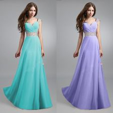 Women Long Chiffon Bridesmaid Formal Gown Ball Party Cocktail Evening Prom Dress