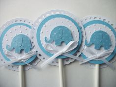 Elephant Cupcake Toppers, Baby Shower Cupcake Toppers, Baby Boy Cupcake Toppers, Blue Cupcake Toppers, Blue Baby Shower Decorations. $10.00, via Etsy.