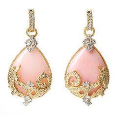 Stambolian Pink Opal Diamond Gold Drop Earrings