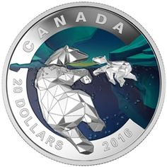 The image of the polar bear in pure silver is the next piece in the Geometry of Arts series of coins. Canadian Coins, Canadian History, Mother Bears, Coin Design, Coin Art, Commemorative Coins, Proof Coins, Canadian Artists, Coin Collecting