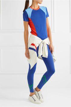 Tory Sport - Color-block Coolmax Stretch-cotton Jersey T-shirt - Blue -