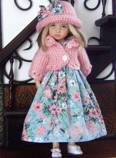 """DRESS,HAT,PANTALOONS SET MADE FOR EFFNER LITTLE DARLING &SIMILAR SIZE 13""""DOLL"""