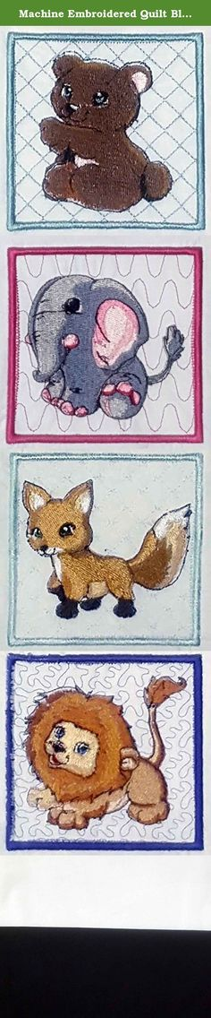 """Machine Embroidered Quilt Blocks Set of 4 Wild Animals: Fox, Bear, Elephant, Lion. Machine Embroidered Quilt Block Set Of 4 Wild Animals Fox, Bear, Elephant, Lion. This set of 4 quilt block is just perfect for your next project, weather it be a quilt, wall hanging, picture or pillow. The blocks sizes are 8"""" X 8"""". All patterns are 3.92"""" X 3.92"""". All will be stitched on 100% Kona cotton or Flannel, your choice. Stabilizer will be removed. Fabric was washed before stitching so there should…"""