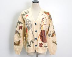 VTG 90's Chunky Knit Fishing Cardigan (Medium  / Large) Fish Stream Forest Bass Embroidered Long Sleeve Sweater Vintage Sweater