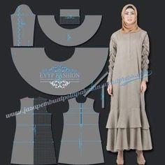 45 ideas for fashion hijab rok motif Dress Sewing Patterns, Sewing Patterns Free, Free Pattern, Fashion Sewing, Fashion Fabric, Sewing Clothes Women, Clothes For Women, Diy Bags No Sew, Abaya Pattern