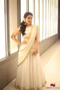 Kerala sari with a twist Set Saree, Half Saree Lehenga, Lehenga Gown, Lehnga Dress, Saree Look, Sari, Lengha Choli, Kerala Saree Blouse Designs, Half Saree Designs