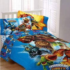 My nephew is nuts for Skylanders - This would be so cool to do his room up in 'all out' Skylanders! Skylanders Bedding Full Size - A Shop For All Seasons