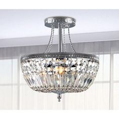 Jessica Crystal Basket Semi-flush Mount Chrome 3-light Chandelier | Overstock.com Shopping - Great Deals on Chandeliers & Pendants