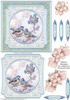 BLUE TITS AMONGST THE BLOSSOM Card Topper Decoupage on Craftsuprint designed by Janet Briggs - Versatile card topper featuring blue tits.Suitable for men or ladies, as the floral decoupage elements are optional.Make a quick card for a man, by just adding the main topper to the base card. Or add the magnolias for a pretty floral card with decoupage.Several sentiment tags, including one blank. The others read,Best WishesThank YouHappy BirthdaySpecial FriendA coordinating insert is available…