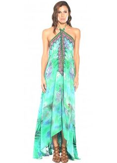 Parides Aqua Green Amazonia Palm Silk Crepe Dress With 3 Ways To Style