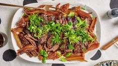 Brisket With Fennel and Herbs Recipe | Bon Appétit No Salt Recipes, Herb Recipes, Dinner Recipes, Savoury Recipes, Spinach Recipes, Brisket Seasoning, Passover Recipes, Hanukkah Recipes, Jewish Recipes