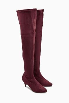 d71f20374 Berry Over The Knee Kitten Heel Sock Boots £50 textile Thigh High Boots,  Over
