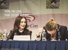 The Mortal Instruments: City of Bones at Wondercon in LA this weekend (March 30, 2013) Lily Collins and Jamie Campbell Bower lol.