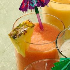 Hawaiian Smoothie    For the best taste and color, use a red-fleshed Hawaiian papaya for this exotic, lip-puckering taste of island summer. Papayas are loaded with papain, a digestive enzyme, so this smoothie is a good dessert to settle stomachs after a substantial meal.