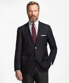 Brooks Brothers classic 1818 Blazer navy blazer tailored in premium natural wool by Loro Piana.