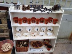 Outdoor maths station … play areas eyfs Play More Month - DaddiLife Maths Eyfs, Numeracy Activities, Eyfs Classroom, Nursery Activities, Outdoor Classroom, Outdoor School, Reception Classroom Ideas, Counting Activities, Outdoor Education