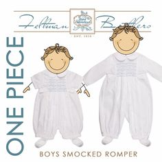 Vintage boy's clothes, Smocked boys clothes, the two go together like peanut butter and jelly and ice cream with sprinkles! We love these gorgeous rompers for little boys! Princely, classic, and timeless! ❤ http://feltmanbrothers.com/boys-smocked-longall-romper/ http://feltmanbrothers.com/boys-smocked-shortall/
