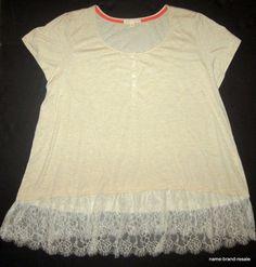 HINT OF MINT NWT Womens PLUS 3X Oatmeal Lace Ruffle Hem Hi Low Top Shirt NEW #HintofMint #Blouse #Casual