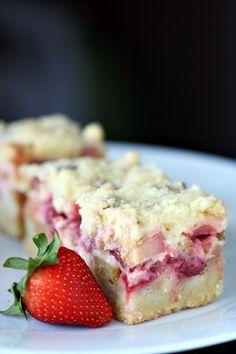 87 strawberry rhubarb cream cheese bars rhubarb bars, strawberry rhubarb ca Rhubarb And Custard Recipes, Rhubarb Desserts, Just Desserts, Delicious Desserts, Dessert Recipes, Yummy Food, Recipe For Rhubarb Torte, Ruhbarb Recipes, Rhubarb Custard Bars