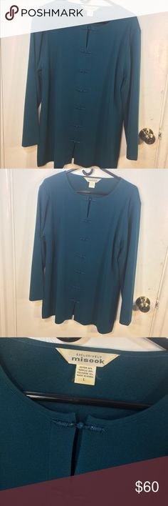 Exclusively Misook Oriental Cardigan Exclusively Misook women's size large teal blue Oriental inspired long sleeve rayon blend knit long sleeve cardigan sweater with Asian style button closures, side slits, and shoulder pads. In excellent condition; no flaws. Fabric content tag is pictured above. Misook Sweaters Cardigans