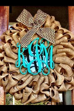 Burlap Wreath - Fall Wreaths for door - Door wreath - Monogram Wreath - Initial Wreath