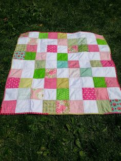 pink and green scrappy baby quilt, scrap quilt, quiltytherapy