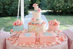 peach and teal cake