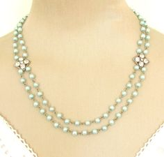 Two Strand Blue Pearl Necklace
