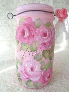 MOST FAB BALL JAR BASKET EVER! hp roses chic shabby vintage cottage hand painted #BALL #SHABBYCHCI