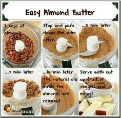 Almond butter.... Did you know it was this easy? I tried it tonight and it's easy and awesome! Must refrigerate though! I used cocoa dusted almonds and the resulting almond butter is amazing.