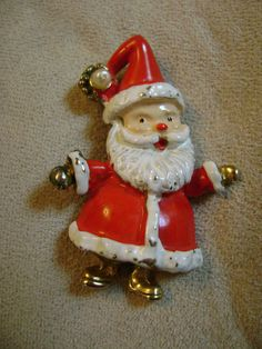 vintage metal enameled SANTA BROOCH costume by returntothepast, $5.00
