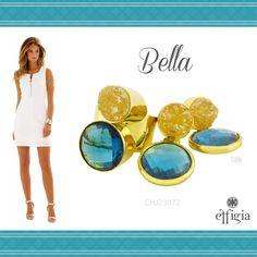Luce este precioso juego de oro amarillo de 18K con Drucita y Topacio azul. ¡Ideal para ti! Brilla siempre con Effigia. #JoyasHechasAMano #Effigia