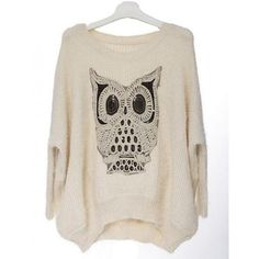 Pretty Beige Owl Knit Pullover$47.00 ($47) ❤ liked on Polyvore