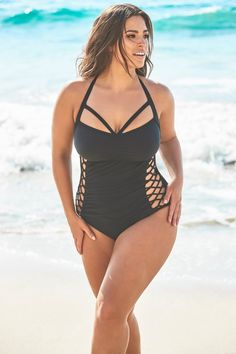 5df0a36033a Ashley Graham x Swimsuits For All Boss Black Cut Out Underwire One Piece  Swimsuit