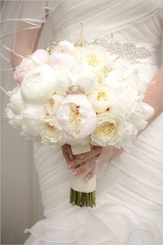 white peony wedding bouquet / Event Design by Cynthia Martyn Fine Events /  Wedding On A Horse Farm / As Seen on WeddingChicks.com