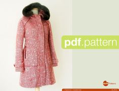 PDF sewing pattern. Women Hooded Coat Pepernoot by WafflePatterns