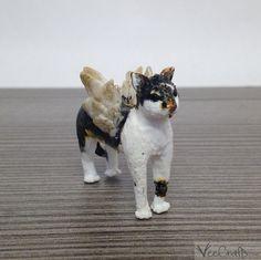 Polymer Clay Angimal Figur Katze mit Flügeln Beispeil / einzigartige handgefertigte Skulptur / Schutzengel Tier Super Cute, Etsy, Vintage, Art, Guardian Angels, Sculptures, Handmade, Cats, Animales