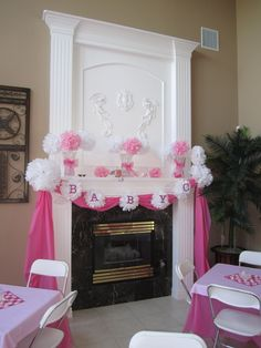 Baby Girl Shower - simple pink & white - with tulle instead of a plastic tablecloth on the mantel