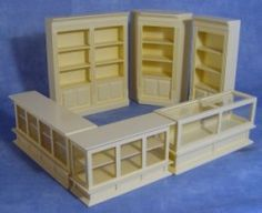 Scale 6 Piece Cream Shop Set Dolls House Miniature Furniture Accessory 1134 in Dolls & Bears, Dolls' Miniatures & Houses, Furniture