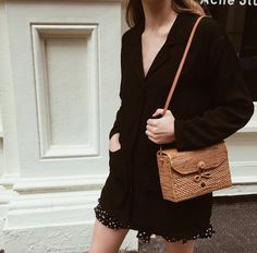 "5,079 Likes, 30 Comments - Christie Tyler (@nycbambi) on Instagram: ""With Jéan, the S'il Vous Plaît jacket 🌟 and this adorable straw bag by @bembien"""