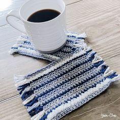Ravelry: Mug Rug pattern by Rebecca Langford Crochet Kitchen, Crochet Home, Crochet Gifts, Free Crochet, Crochet Coaster, Quick Crochet, Half Double Crochet, Single Crochet, Crochet Designs
