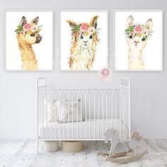 3 Boho Llama Alpaca Wall Art Print Nursery Baby Girl Room Bohemian Floral Watercolor Set Prints Printable Decor Source by Sets Baby Room Decor, Nursery Decor, Nursery Ideas, Nursery Pictures, Room Baby, Girl Nursery, Girl Room, Pink Forest, Baby Kicking