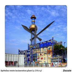 Spittelau waste incineration plant square wallclock