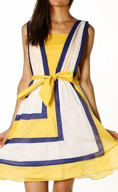 Belle Yellow/Blue Summer Dress