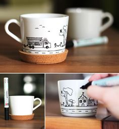 Gingered Things, DIY, cup, kids, fire department, porcelain marker, Kinder, Tasse, Porzellanstift, Feuerwehr