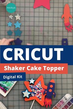 Get the Digital Kit to make this Rocket Shaker Cake Topper. Step-by-step video tutorial included with purchase. Diy Cake Topper, Cake Topper Tutorial, Disney Cake Toppers, Birthday Cake Toppers, Diy Arts And Crafts, Paper Crafts, Bolo Diy, Diy Birthday Decorations, Party Kit