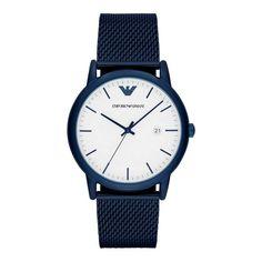 fe9b5d0824a1 Ebay Herrenuhren Emporio Armani Herren Uhr AR11025 Classic Blau Milanaise  Uhr% Quickberater%